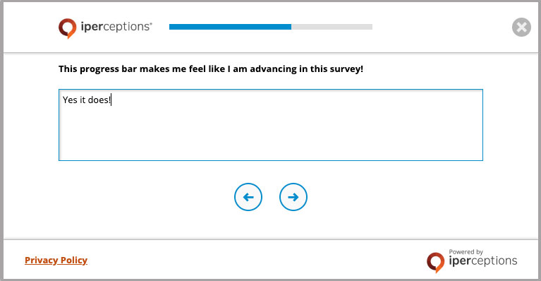 How To Increase Survey Response Rates - Example of a survey that includes a progress bar