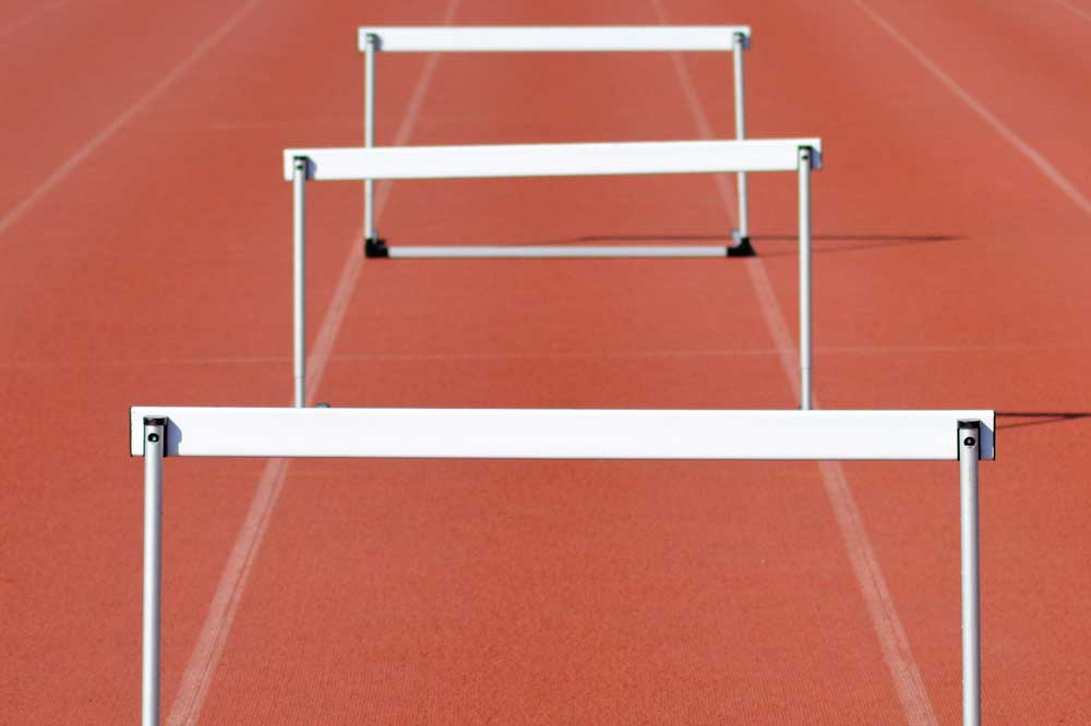 hurdles on a track