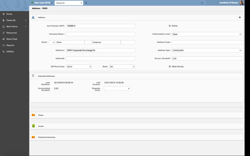 ePowerCenter Astute CRM address search