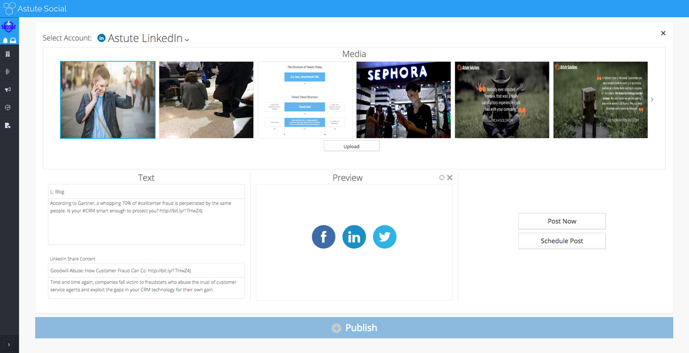 astute social media management tool publishing
