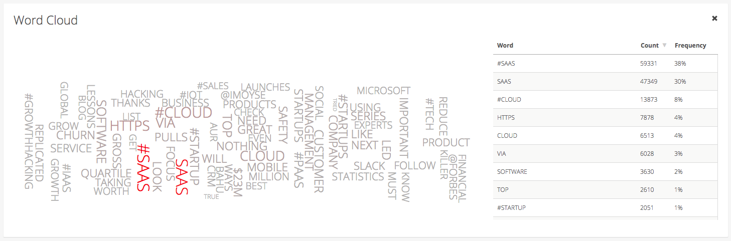 Astute Social product updates enhanced word cloud