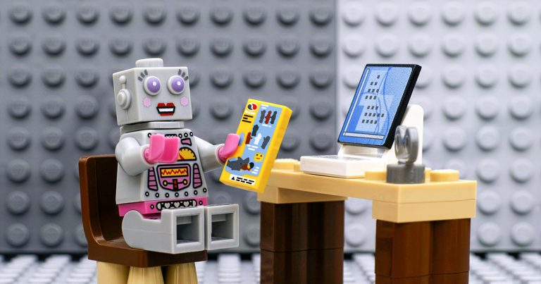 lego minifigure by computer