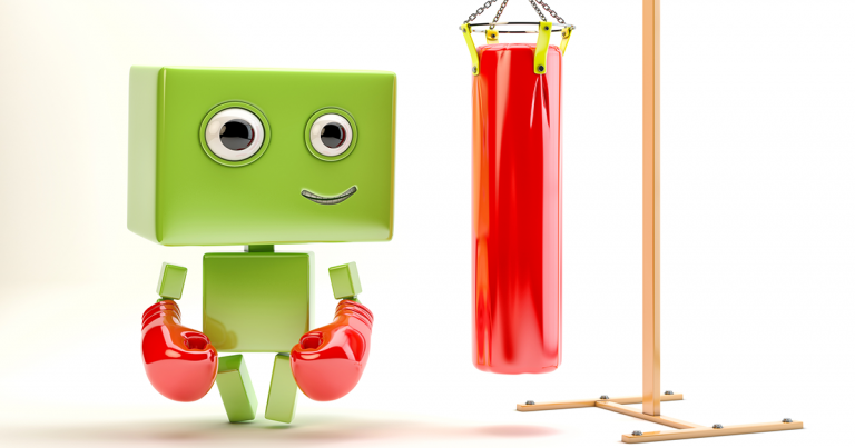 green robot with boxing gloves and heavy bag