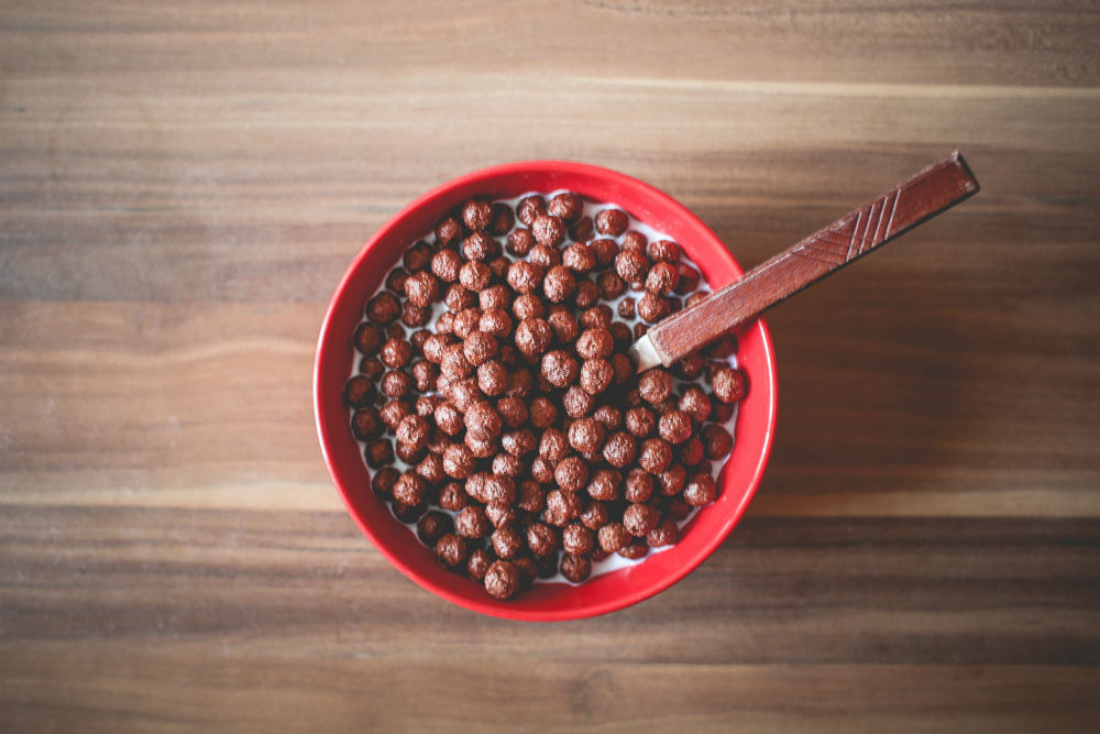 red bowl of cereal