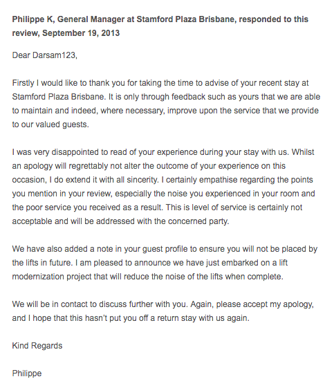 example of a business' response to an online review
