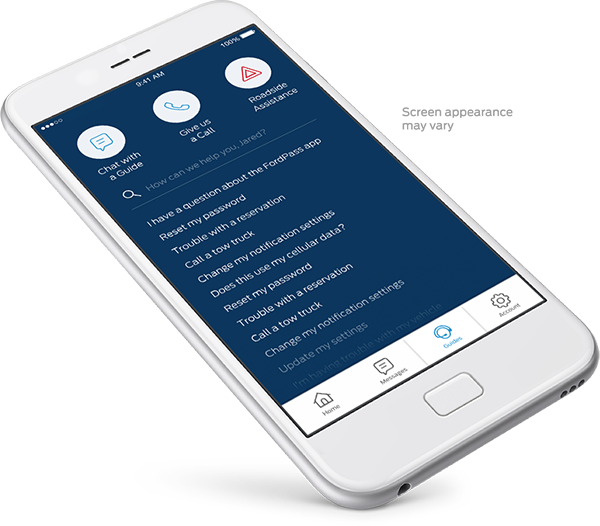 example of fordpass app on smartphone with faqs