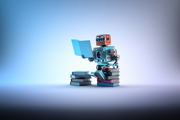 a smart robot reading books as a symbol for service chatbots and intelligent escalation