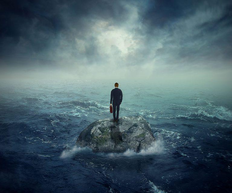 man standing on an island