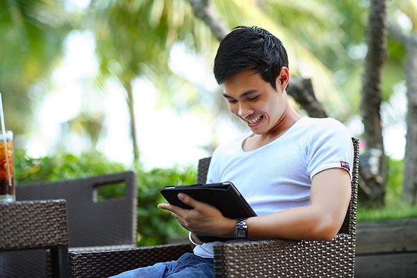 happy customer using mobile banking