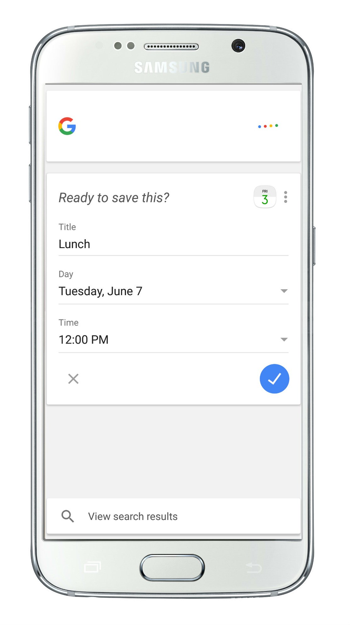 Google Calendar example of natural language processing