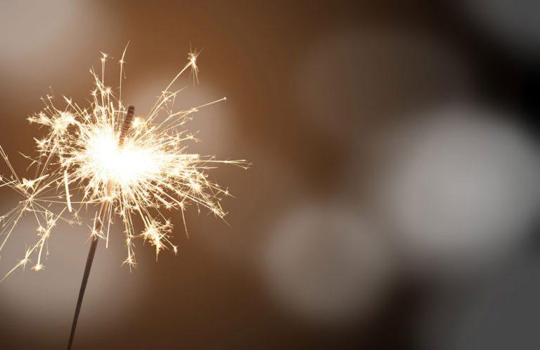 sparkler on dark background
