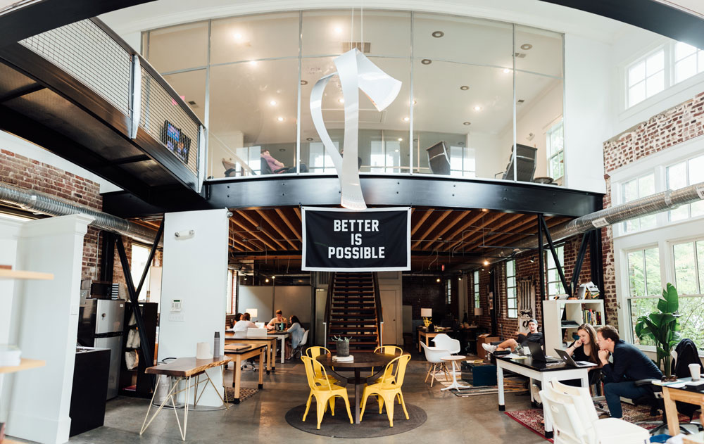 office with better is possible sign, company may be differentiating on customer service