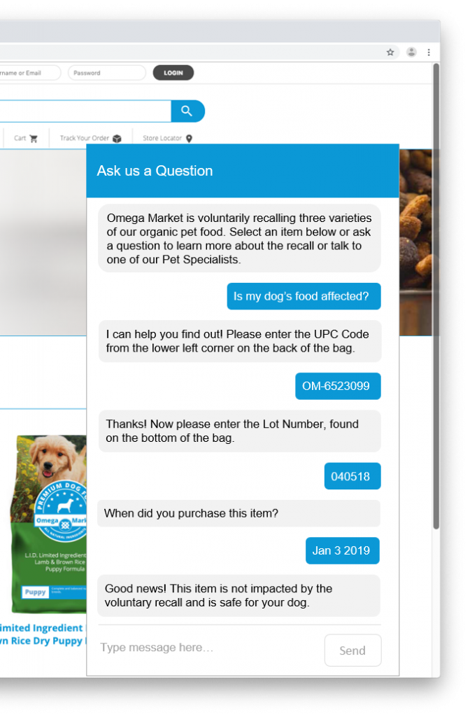 example of recall management with a chatbot