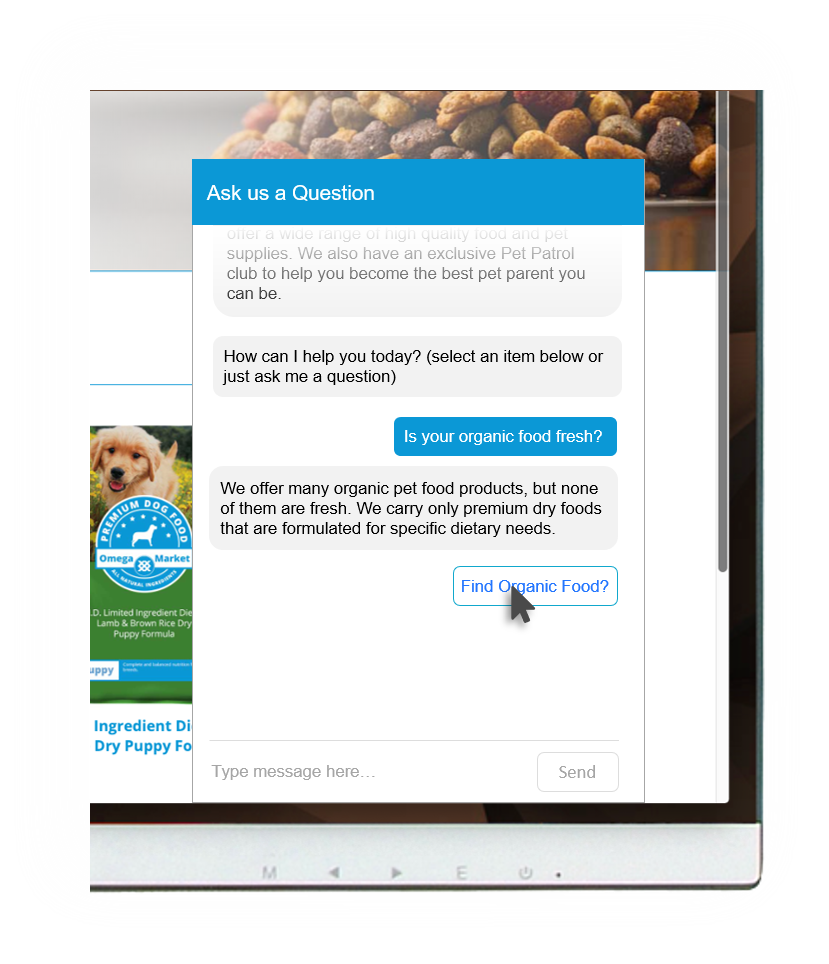 omega market customer self-service example pet food
