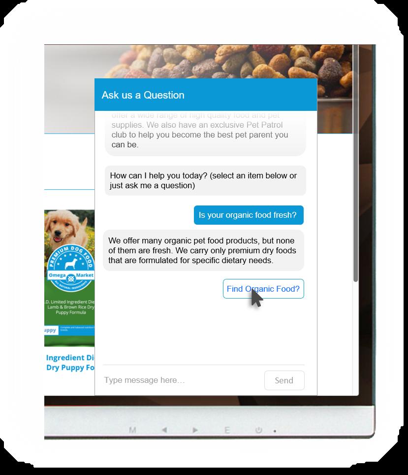 omega market customer self-service example pet food
