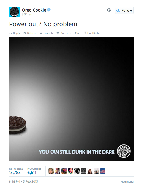 Oreo tweet from The Super Bowl