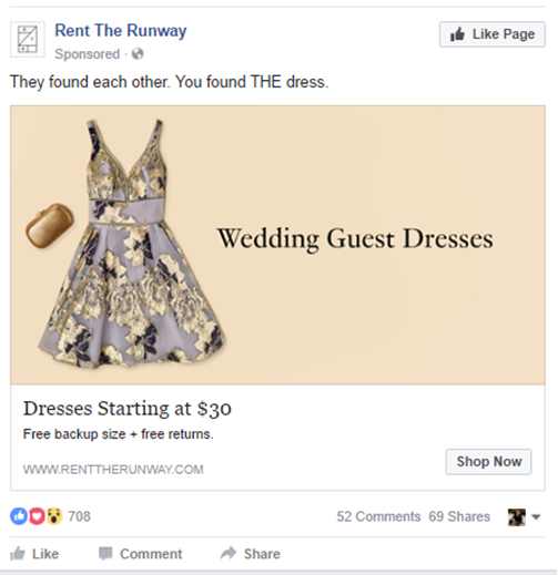 rent the runway successful facebook ad social media campaign