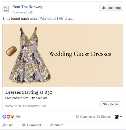 rent the runway successful facebook ad social media campaign