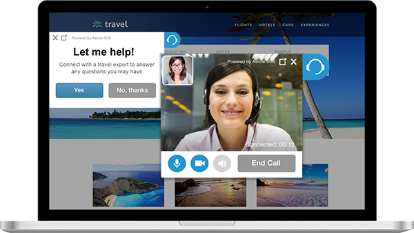 Video Chat Example for customer service Astute SOS