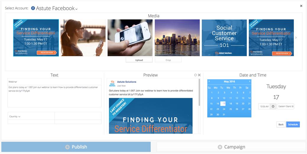 Astute Social publishing tool