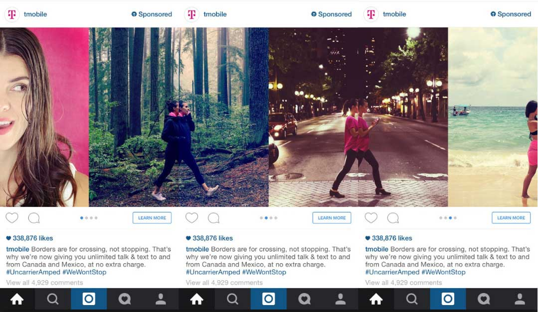 example of great instagram ad carousel t mobile