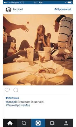 Example of Instagram ad from Taco Bell