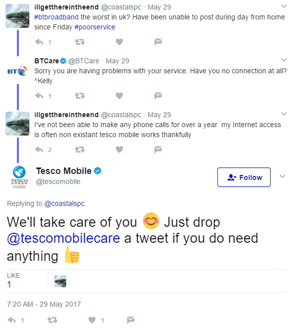 proactive social engagement from Tesco Mobile