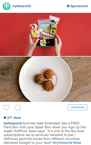 Example of Instagram ad from Try the World
