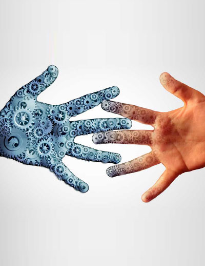 human hand and automation touching