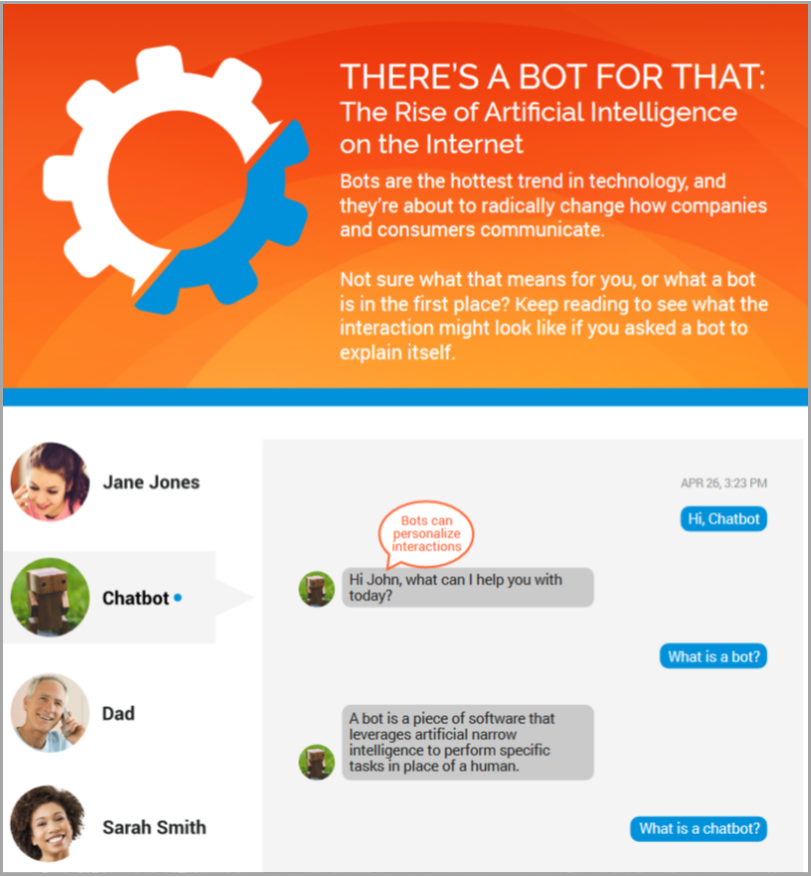 Consumers will soon be talking to brands through messaging platforms as casually as they talk to their friends. This infographic will show you the basics of bots and how they can help you build a better customer experience. the basics of bots and how they can help you build a better customer experience.