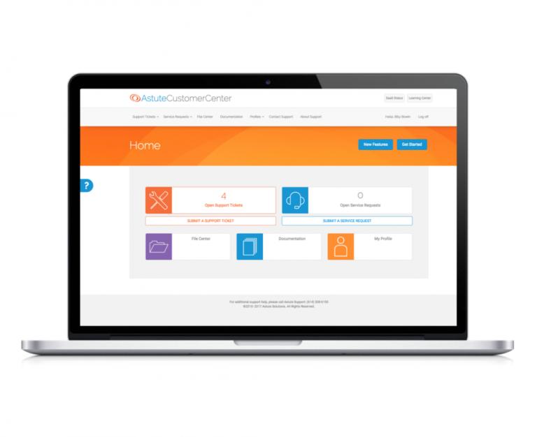 screenshot of astute customer center portal