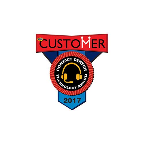 2017 customer magazine contact center technology award badge