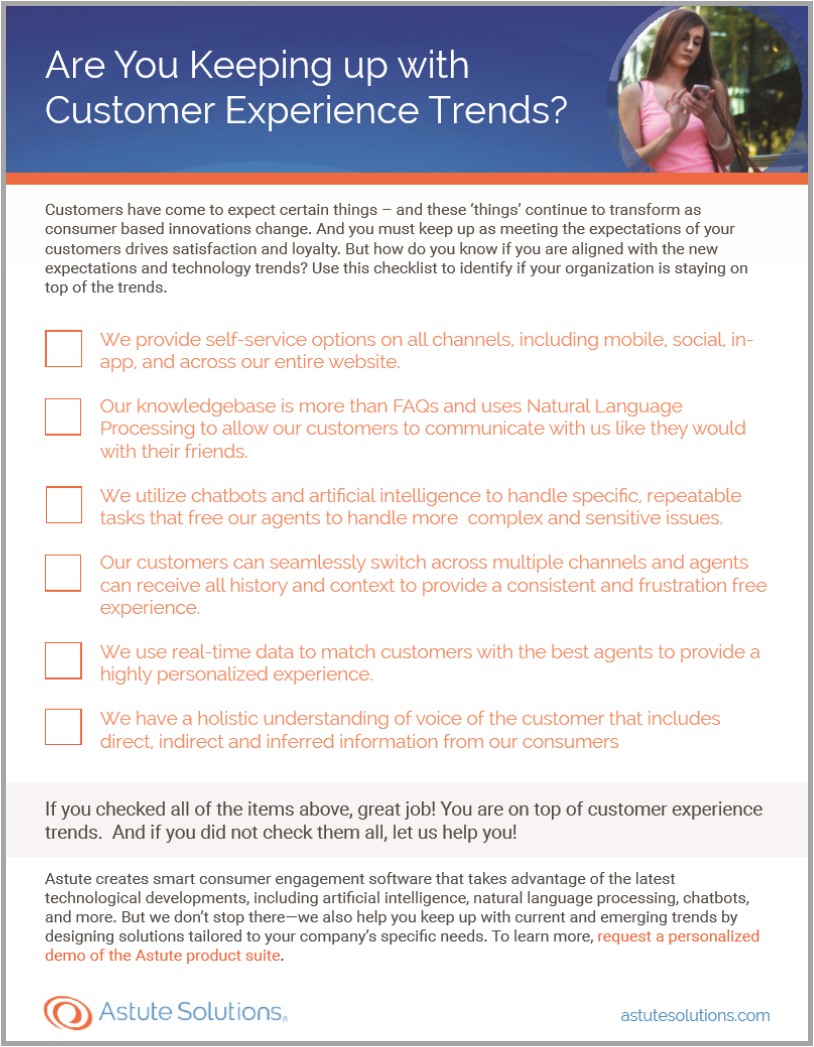 Use this checklist to identify if your organization is staying on top of recent CX trends.