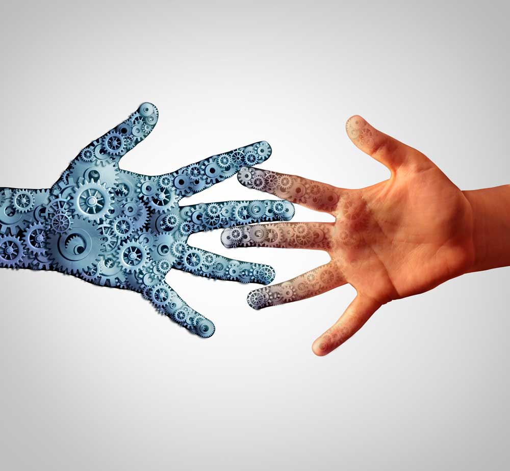 human hand and ai hand touching to show narrow ai
