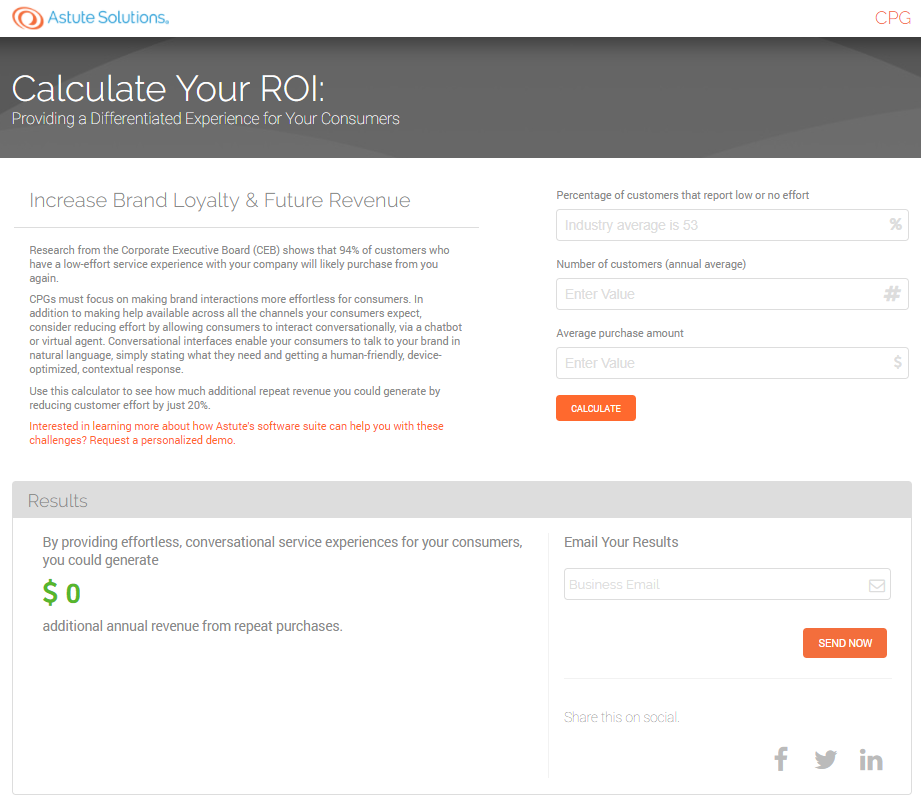 roi calculator cpg industry brand loyalty with improved cx