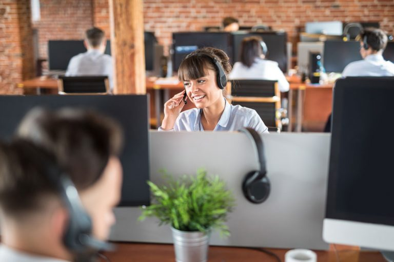 happy engaged call center agent