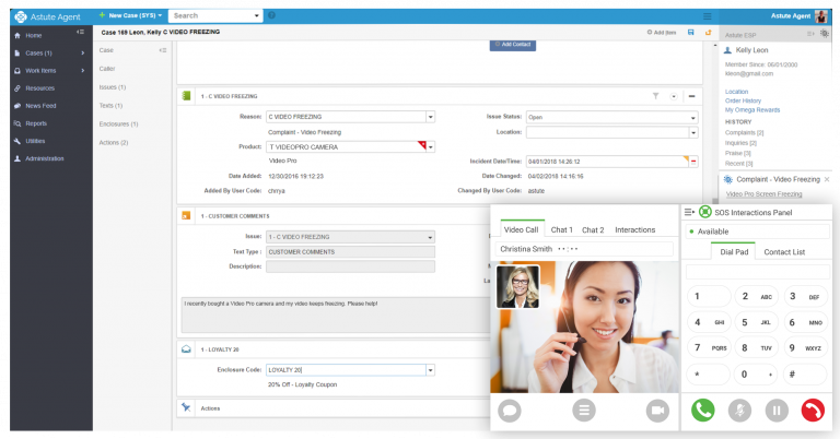 astute agent crm screenshot with video chat escalation