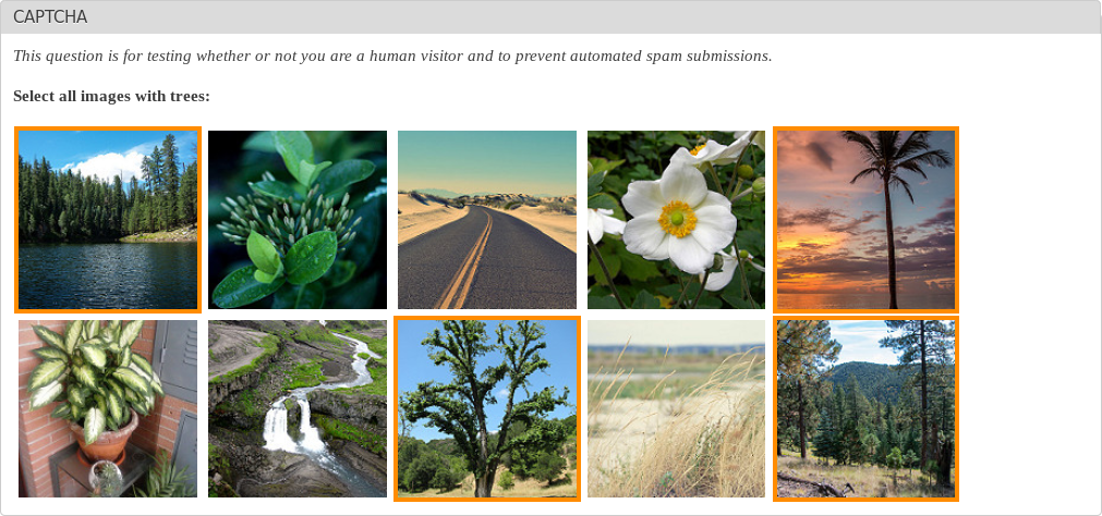 captcha example select all the images with trees