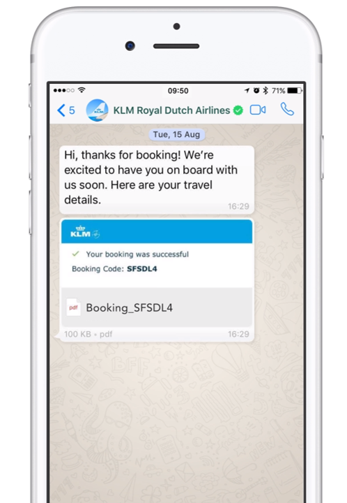 klm booking in whatsapp customer service example