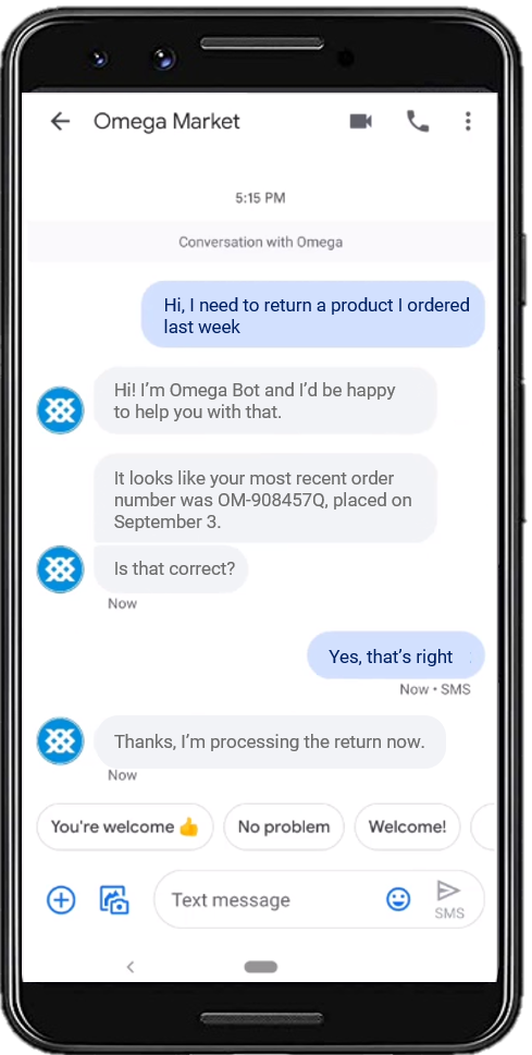 astute bot example for customer service via sms texting