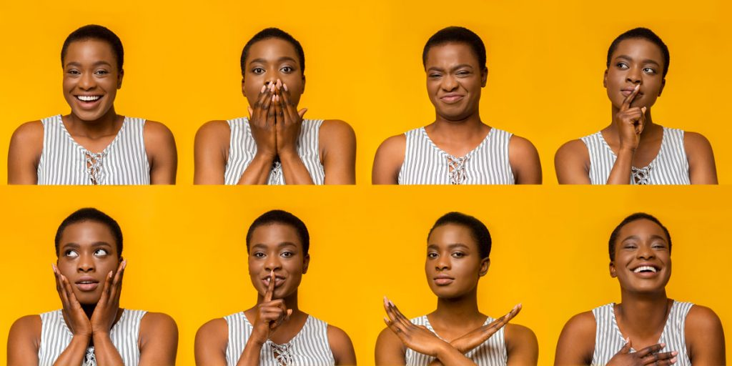 woman showing different emotions as example of customer sentiment analysis
