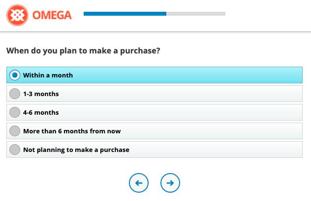 Example of CSAT Survey Question, Purchase Horizon